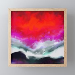Abstract in Red, White and Purple Framed Mini Art Print