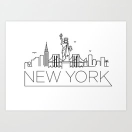 Minimal New York Skyline Design Art Print
