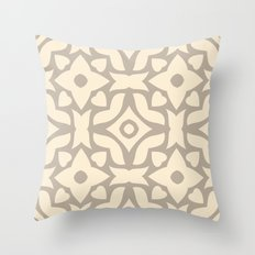 Abstract Decorative Pattern 55 - Cream, Brown Throw Pillow