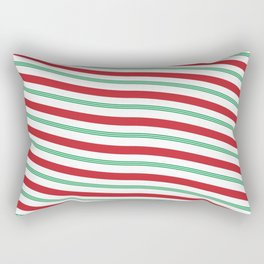 Red White and Green Christmas Candy Cane Pattern Rectangular Pillow