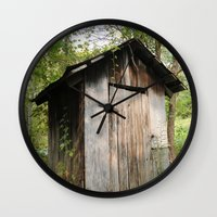 outdoor Wall Clocks featuring Outdoor toilet by jim snyders photography