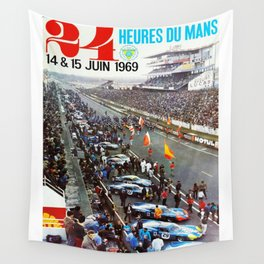 1969 Le Mans poster, Race poster, Car poster, vintage poster Wall Tapestry