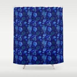 Blue Australian Native Floral Print Shower Curtain