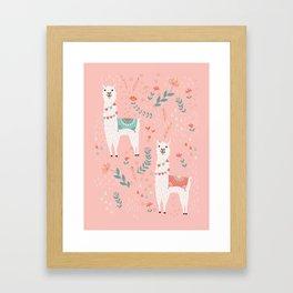 Lovely Llama on Pink Framed Art Print