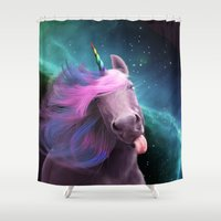 sassy Shower Curtains featuring Sassy Unicorn by Jessica LeClerc Illustration