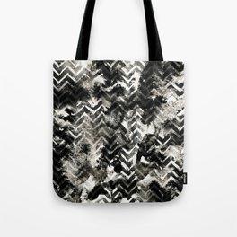 Black & White Chevron Ink Spill Tote Bag