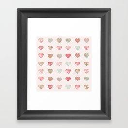 AFE Pastel Hearts Pattern Framed Art Print