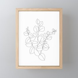 Minimalistic Eucalyptus  Line Art Framed Mini Art Print