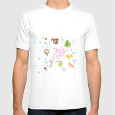 Marry Christmas Pattern MEDIUM Mens Fitted Tee White