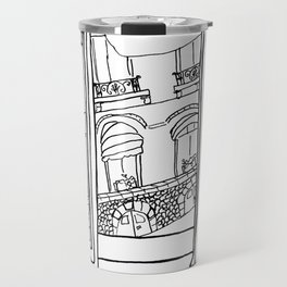 Window View in France  //  ink drawing Travel Mug