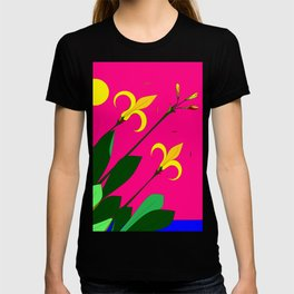 Yellow Lilies with the Sun in the Pink Sky T-shirt