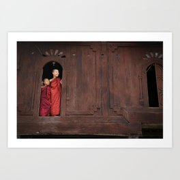 Buddhist monks in Nayung Shwe, Myanmar Art Print