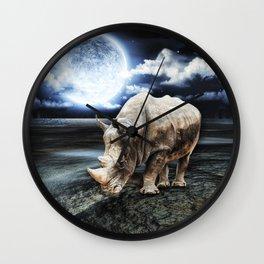 Rhino under the Moon Wall Clock