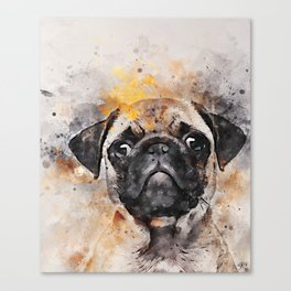 Pug Puppy Using Watercolor On Raw Canvas Canvas Print
