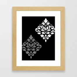 Scroll Damask Art I Black Grey White Framed Art Print