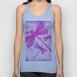 Hot pink lace dragonflies on texture Unisex Tank Top