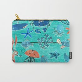 Blue & Orange Under the Sea Carry-All Pouch