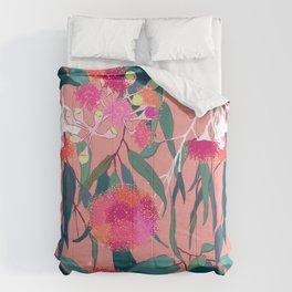 Australian Gumnut Eucalyptus Floral in Dusty Peach Comforters