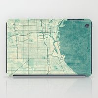 milwaukee iPad Cases featuring Milwaukee Map Blue Vintage by City Art Posters
