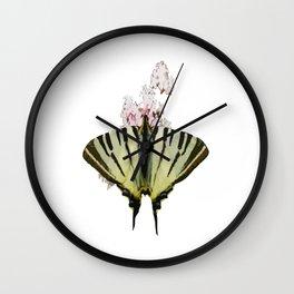Scarce Swallowtail On Wild Garlic Flowers Vector Isolated Wall Clock