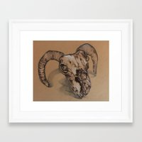 ram Framed Art Prints featuring Ram by NIA ROO