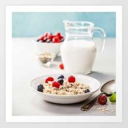 Oatmeal porridge with fresh berries and almond milk Art Print