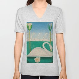 Untitled, Swans and Lilies by Joseph Stella Unisex V-Neck