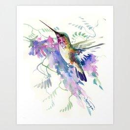 Hummingbird and Soft Purple Flowers Art Print