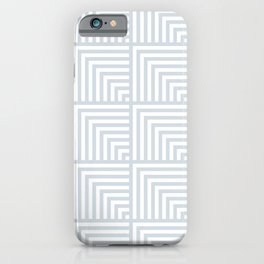 optical art pattern squares in white and a pale icy gray iPhone Case
