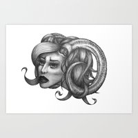 ram Art Prints featuring Ram by Tooth & Arrow Co