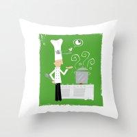 chef Throw Pillows featuring Cuckoo Chef by Marcelo Badari