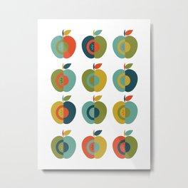 Mid Century Modern Apples Metal Print