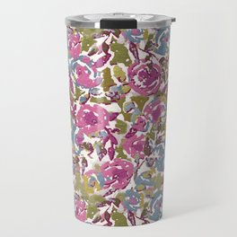 Painted Abstract Florals Travel Mug