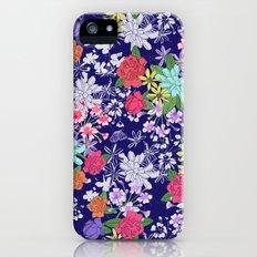 Blue Floral Slim Case iPhone (5, 5s)