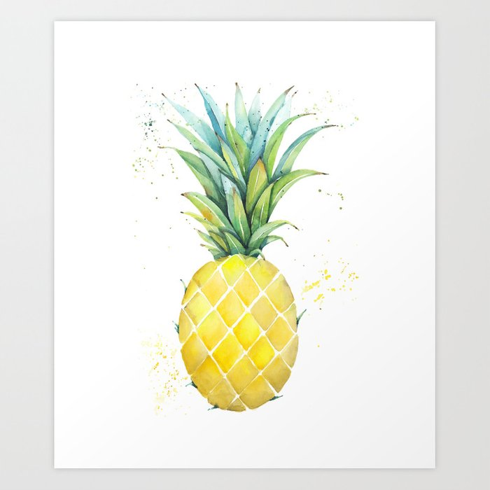 9e2f5bded063 A Cool Pineapple Art Print by newamsterdamdesigns | Society6