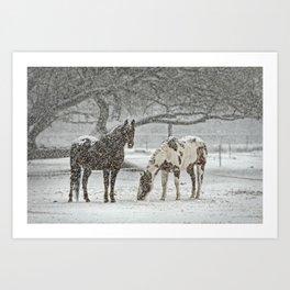 2 Horses under a tree in winter Art Print