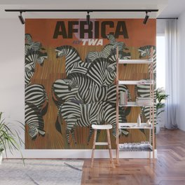 Genuine Zebra Vintage Poster Africa Travel Wall Mural