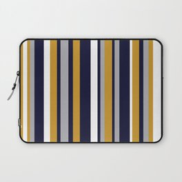 Modern Stripes in Mustard Yellow, Navy Blue, Gray, and White. Minimalist Color Block Laptop Sleeve