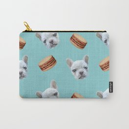 French Bulldog and macaroon pattern (Chocolate) Carry-All Pouch
