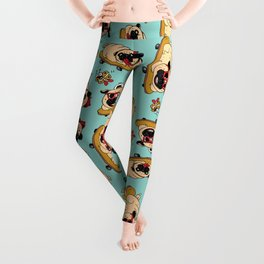 Skateboarding Pugs Leggings