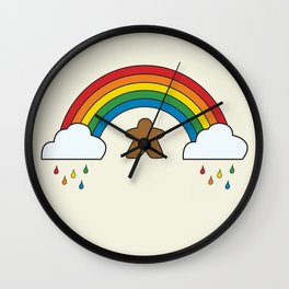 Meeple Rainbow Rain Wall Clock