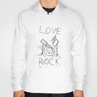 drums Hoodies featuring Love Rock Drums by Louise Court
