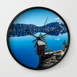Outhouse on the Cliff // Crater Lake National Park Crystal Clear Blue Waters and Sky Wall Clock