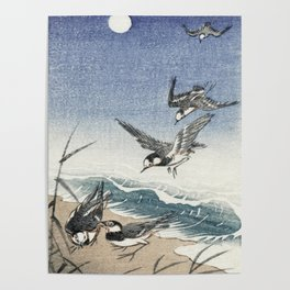 Sparrows at the beach - Japanese vintage woodblock print Poster
