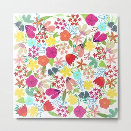 Wildflower Pattern Metal Print