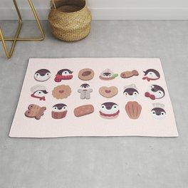 Cookie & cream & penguin - pink pattern Rug