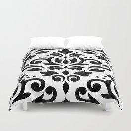 Scroll Damask Large Pattern Black on White Duvet Cover