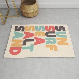 Sun Surf Sea Salt Sand Typography - Retro Rainbow Rug