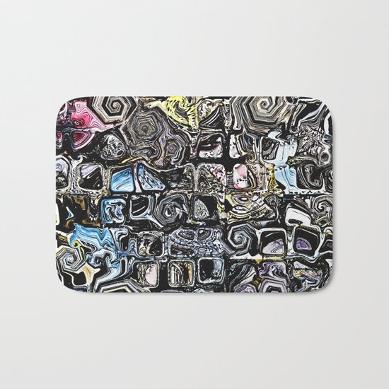Distorted Shapes And Text Bath Mat