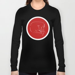 Relaxing Cat in red circle Long Sleeve T-shirt